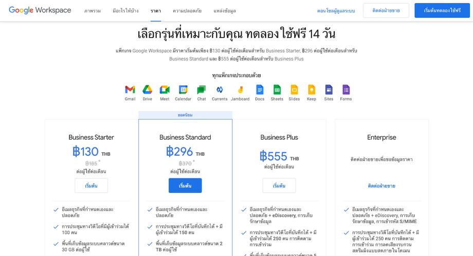 ราคา Google Workspace