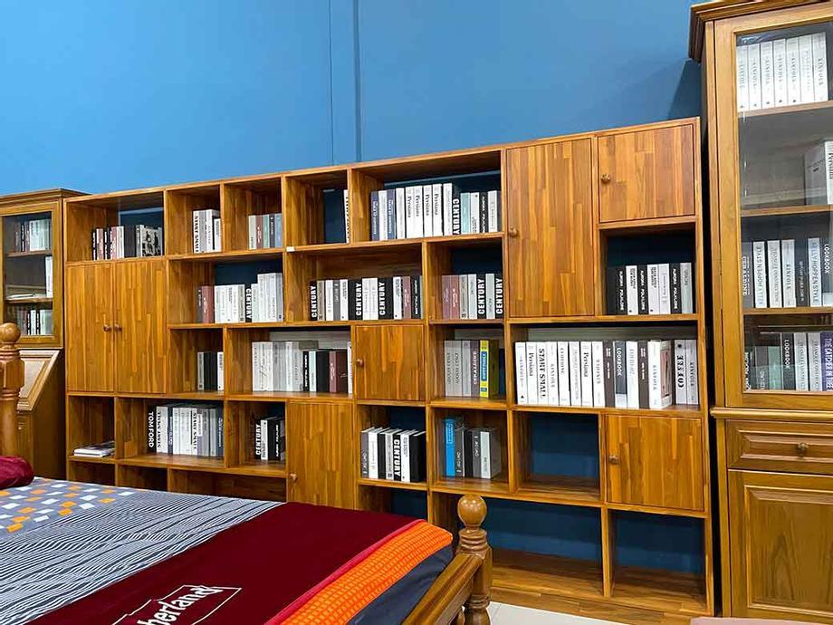 ตู้โชว์ตู้หนังสือไม้สักแท้